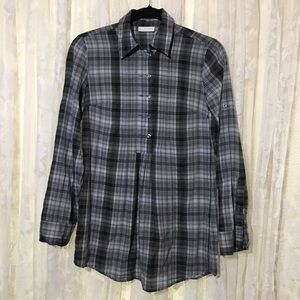 New York & Company Long Sleeve Plaid Blouse